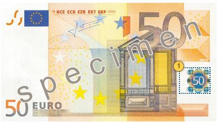 Pakreipkite 50 eurų banknotą