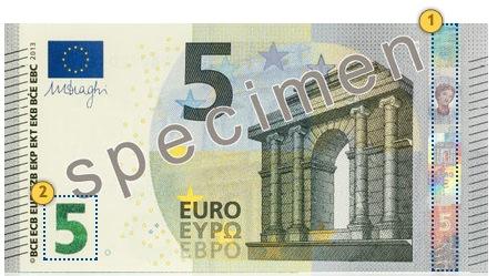 Najasis 5 eurų banknotas. Pakreipkite.