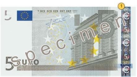 Senieji 5 eurų banknotai. Pakreipkite.
