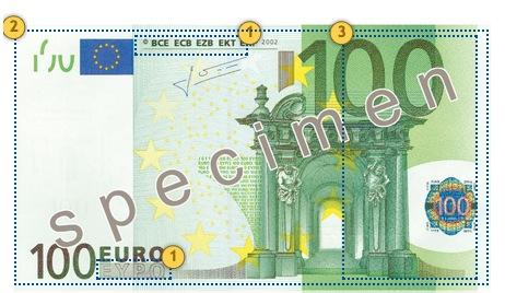 Papildomi 100 eurų apsaugos požymiai