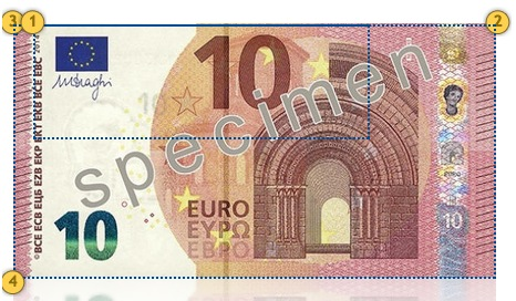 Naujasis 10 eurų banknotas. Papildomi požymiai.
