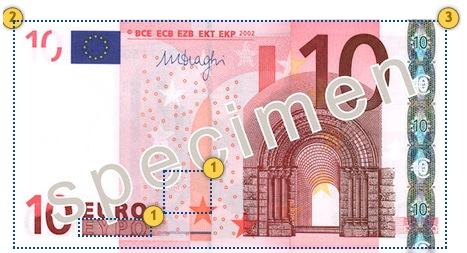 Senasis 10 eurų banknotas. Papildomi požymiai.