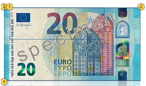 Naujas 20 eurų banknotas. Papildomi požymiai.