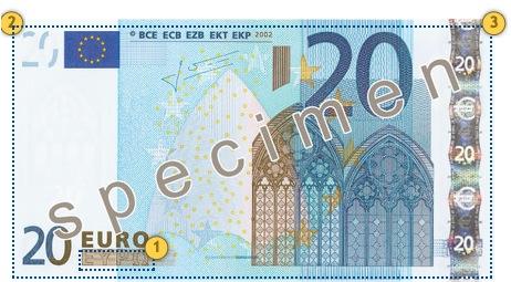 20 eurų banknotas. Papildomi požymiai.