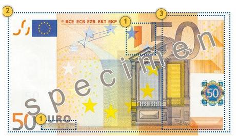 Papildomi apsaugos požymiai 50 eurų