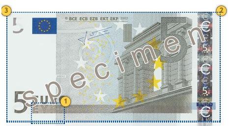 Senieji 5 eurų banknotas. Papildomi požymiai.