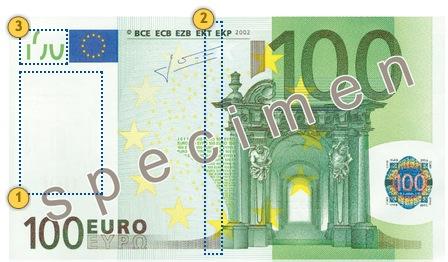 Peržvelkite 100 eurų, apsaugos požymiai