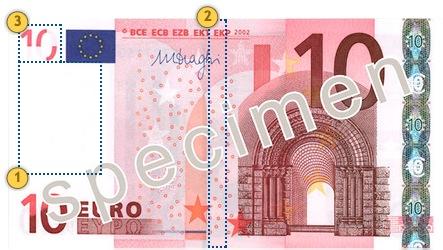 10 eurų banknotas. Pažvelkite.