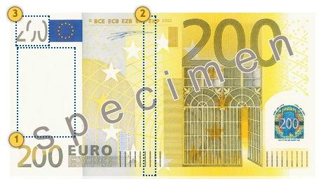 Pažvelkite 200 eurų, apsaugos požymiai