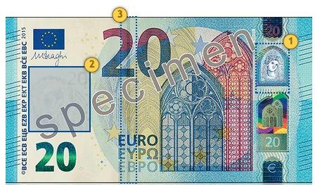 Naujas 20 eurų banknotas. Pažvelkite.
