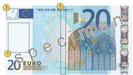 20 eurų banknotas. Pažvelkite.