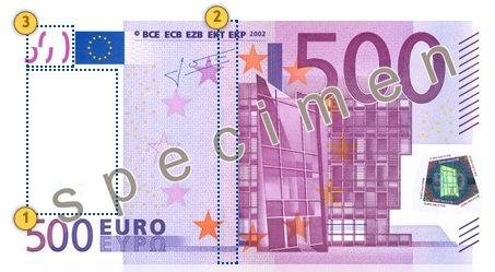Pažvelkite 500 eurų, apsaugos požymiai