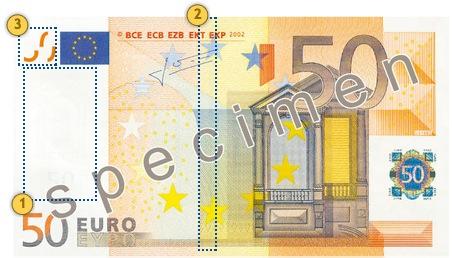 Peržvelkite 50 eurų banknotą