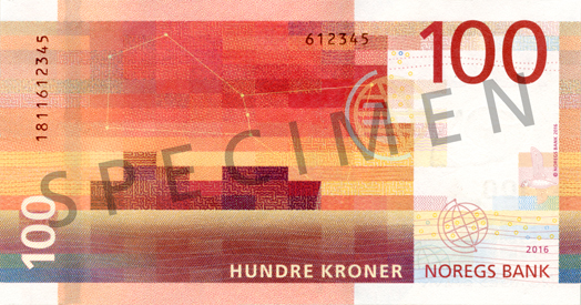 Naujosios 100 Norvegijos kronos (B pusė)