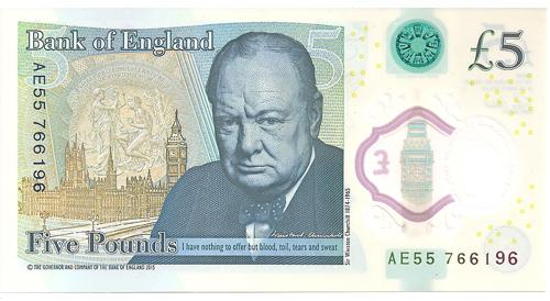 Naujasis 5 svarų banknotas su Vinstonu Čerčiliu