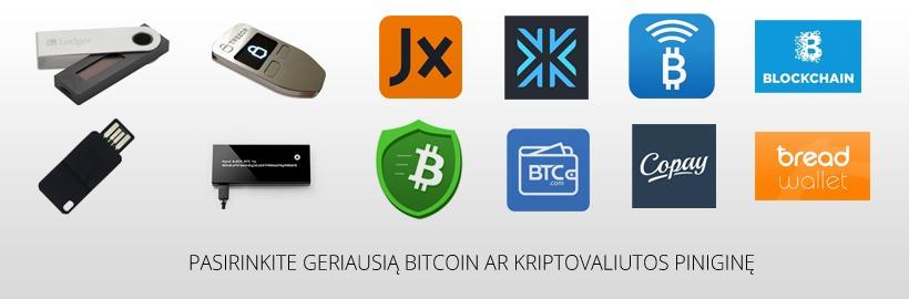 Bitcoin ir kriptovaliutų piniginės