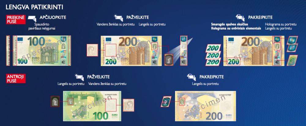 Naujųjų 100 ir 200 eurų banknotų apsaugos požymiai