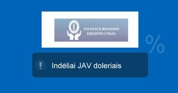 Vilniaus regiono kredito unija JAV doleriai indėliai mini